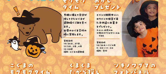 10月26日(土)~11月4日(月・祝)くまくま園ハロウィンイベントが開催されます